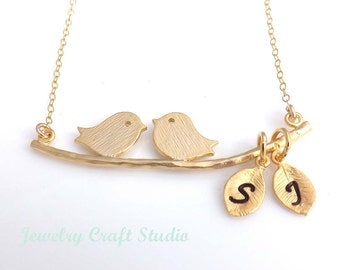 Personalized Two Bird Love Necklace with GOLD FILLED CHAIN - Mother's day, bridesmaids, wife, girlfriend, friendship, best friend
