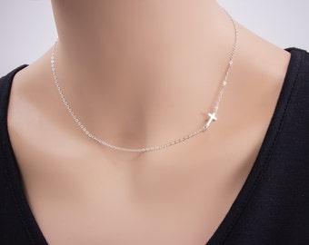 100% Silver Small Sideways Cross Necklace, Sterling Silver, Cross Necklace, Petite Cross, Religious Jewelry