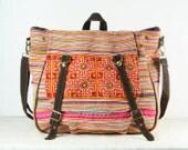 Tribal Messenger Diaper Bag, Backpack, Ethnic Shoulder Bag, Embroidery Hand Stitch