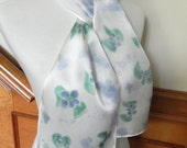 Hand Painted Silk Scarf, Lavender and Blue-Green Flowers, Ready to Ship