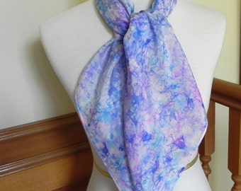 "Large Square Silk Scarf Hand Dyed Shades of Blue and Lavender, 35"" silk scarf, Ready to Ship"