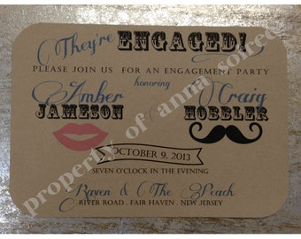Moustache n Lips VINTAGE Themed Save the Date, Engagement, All Occasion, Wedding Invitation, Birthday Invitation, Shower Invitation