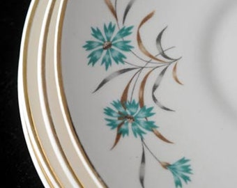 4 USA China Saucers with Aqua Teal Blue Bachelor Button Flowers Vintage 1950s Set of 4