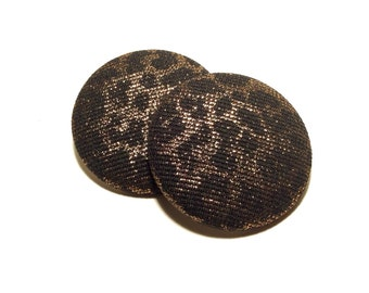 Extra Oversized Gold Cheetah Print Button Earrings