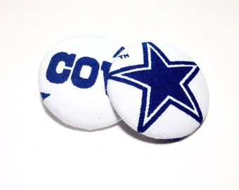 Oversized Dallas Cowboys Print Button Earrings