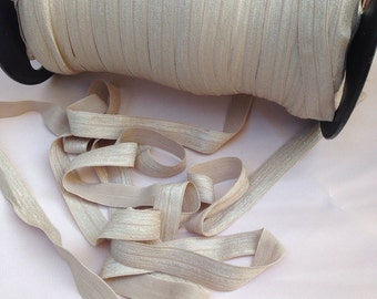 5 yards of foe elastic, Nude Beige fold elastic over 5/8 inch for baby headbands supplies