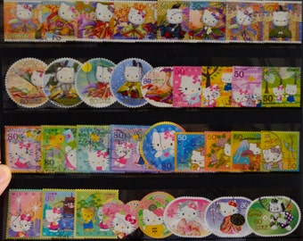 Japanese Postage Stamp set of 50- Hello Kitty