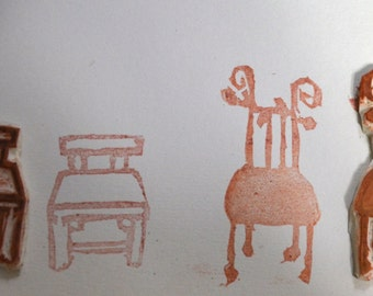 2 Chairs- Handmade Unmounted Rubber stamps