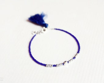 midnight - cobalt blue tassel bracelet - dainty boho friendship bracelet / gift for her  / spring summer jewelry