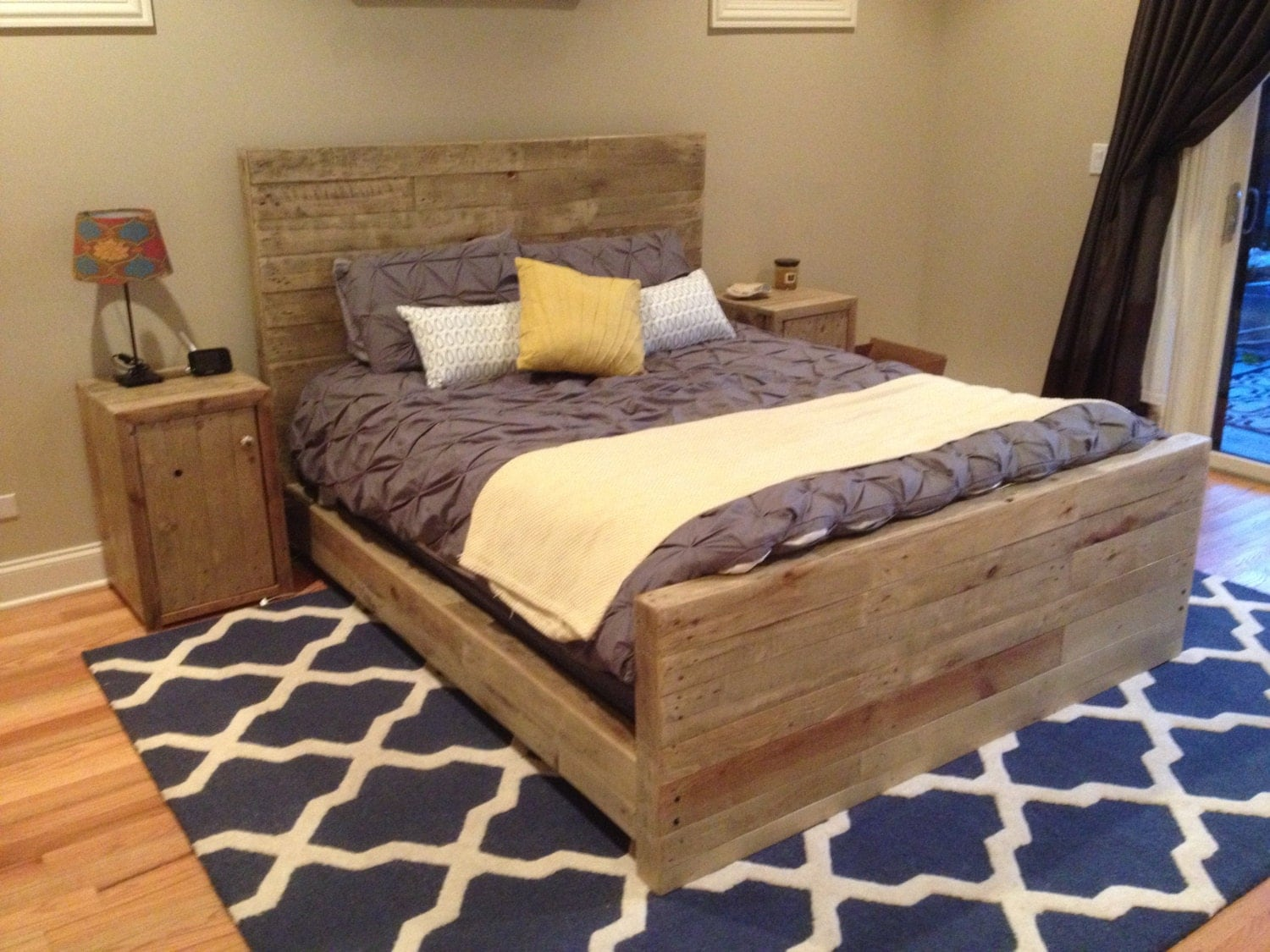 weathered oak bed frame queen size