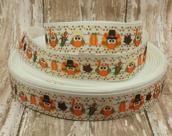 7/8 Grosgrain Thanksgiving Owl Fall Ribbon 2 yards