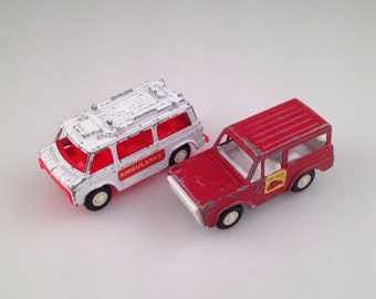 Vintage tootsie toys ambulance and fire chief