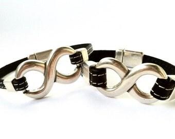 2 x matching leather bracelet, leather bracelet for men, silver  infinity link, infinity men-women. love bracelet. him and her