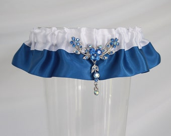 Royal blue and white wedding garter/Wedding Garter/Prom garter/Satin garter/Royal blue lingerie/Something blue/Toss garter/Ready to ship/