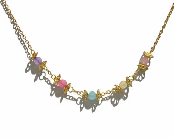 Elegant Kawaii Rainbow Stone Gold Wrapped Candies Necklace -Made to Order