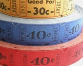 50 Vintage Carnival Tickets - Pick Your Combo - Red, Yellow, and Blue Raffle Tickets - Primary Color Mix - Small Paper Ephemera