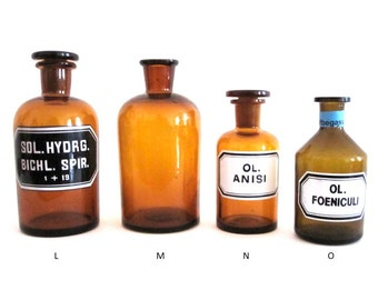 Selection of Original Amber Apothecary Vases