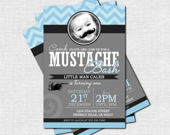 MUSTACHE BASH INVITATION Little Man Birthday Party (print your own) Personalized Printable