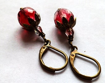 Raspberry pink earrings bronze everyday cut glass dangle drop-