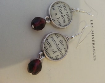 Les Miserables Enjolras Revolution Book Page Earrings