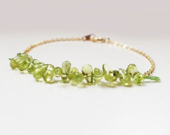Peridot Beaded 16K Gold Plated Stacking Bracelet- BridesMaid Gift - Gemstone Bracelet- Peridot Bracelet - August Birtstone