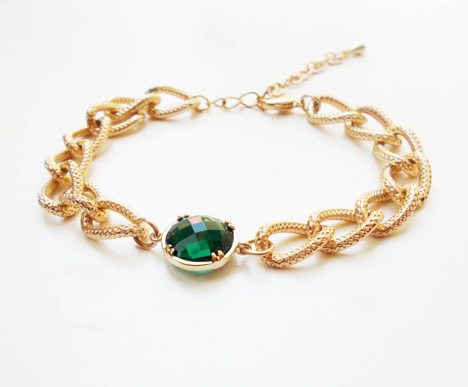 chunky emerald bracelet gold plated stacking bracelet