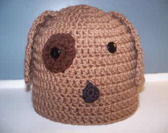 Puppy Dog Hat, Doggy Beanie for Baby, Child, Tween, Teen, or Adult, Dawgs fan, Dog Pound