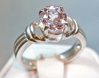 Morganite Ring, 1.67 Carat, Oval Cut, Sterling Silver Ring, Size 6 1/2