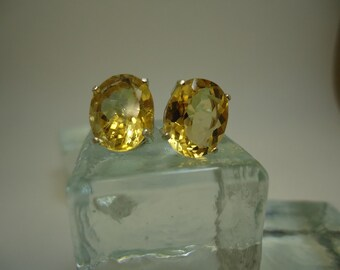 Oval Citrine Earrings in Sterling Silver