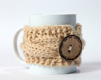 Knitted mug cozy, tea cup cozy,  coffee sleeve, beige, warmer