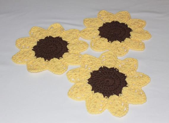 Multi-Use Crocheted Dishcloth Set - Cotton Dishcloth Set - Sunflower - Set of 3