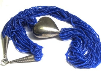 Multi Strand Blue Bead and Silver Heart Necklace - Long Blue Twisted Bead Necklace # 2028