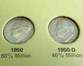 Choice of Vintage Uncirculated Roosevelt Dimes, Antique American Dime,  Vintage 1950 or 1950 D Roosevelt Coin, United States Coin