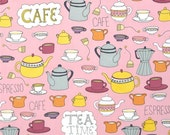 "Robert Kaufman ""Metro Cafe"" by Pink Light Designs Tea and Cafe in Retro 1 Yard Cut"