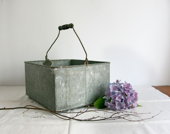 Vintage Galvanized Bucket Square Handle Gray By