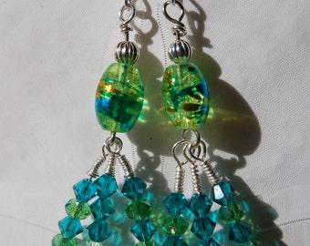 Silver, glass and swarovski crystal dangle earrings