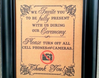8 x 10 Turn Off All Cameras and Cell Phones- Wedding Print / Sign - Ceremony Sign - Single Sheet (Style: NO CAM)
