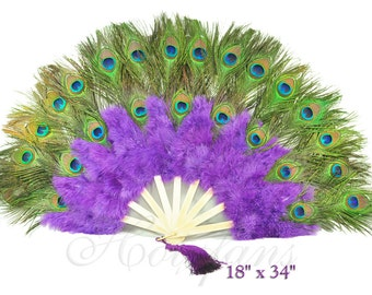 """Double-faced Peacock Eye Purple Marabou Feather Fan Bamboo Staves 18""""x34"""""""