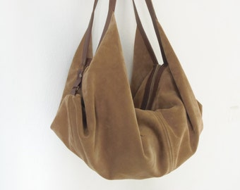 Large leather shoulder bag -Hobo bag - Slouchy leather bag -DeLUNA handbag