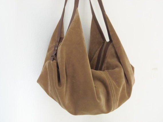 Large leather shoulder bag Hobo bag Slouchy leather bag
