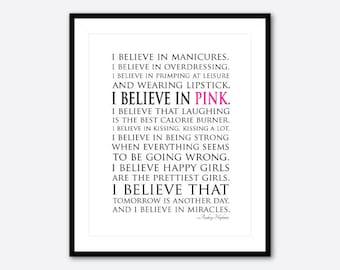 I believe in miracles I believe in pink - Happy girls - Audrey Hepburn Quote - Typgoraphy Wall Art - inspirational print