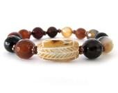 Beaded Stretch Bracelet - Agate Bracelet - Statement Bracelet - Gifts for Her - Women's Bracelet - W1477
