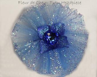 Glittered Royal Blue & Periwinkle Tutu w Midnight Blue Hydrangea Swarovski Crystal Centerpiece on Alligator Clip - Handmade Headpiece