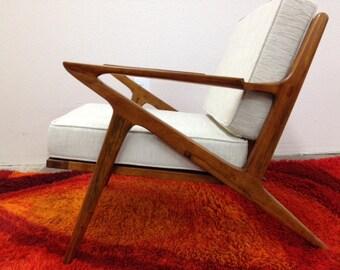 Danish Mid Century Modern Style Teak Lounge Chair - Selig Z Style Wood Armchair