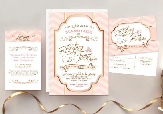 Vintage Glam Wedding Invitations: Pink Gold Chevron Wedding Invitation Vintage Glam By Megan