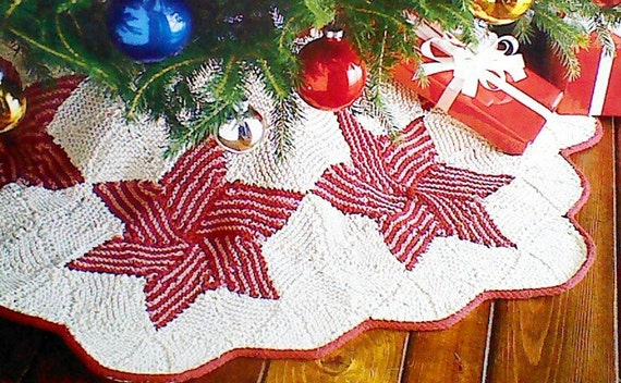 Knit Tree Skirt Pattern : Items similar to Vintage Christmas Star Knit Tree Skirt Pattern on Etsy