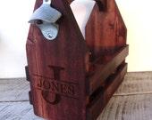 Beer Caddy, Beer Tote, Groomsmen Gift, Six Pack Carrier, Wooden Beer Tote, Engraved Beer Caddy