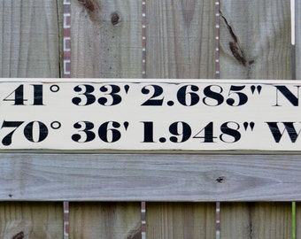 GPS coordinates, Personalized Wedding Gift, Engagement Gift, Anniversary Gift, Important Date Custom Wood Sign
