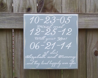 Wedding Gift - Engagement Gift - Anniversary Gift - Important Date Art - Important Date Custom Wood Sign - Loopi