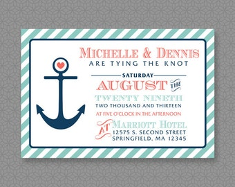 Customized 4x6 Nautical Wedding Invitation - Digital File